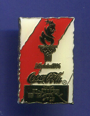 1996 OLYMPIC PIN COKE COCA-COLA COKE RED AND WHITE BLACK TORCH PIN