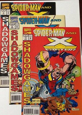 Spider-Man and X Factor #1-3 Complete  Set Marvel 1994 Shadowgames