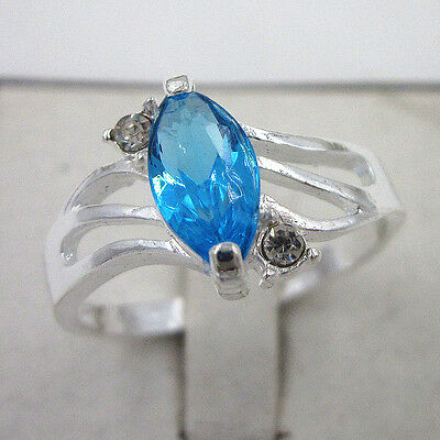 Lady's 925 Sterling Silver Filled Light Blue Crystal Rings Size 7.5 Gift, JZ-009