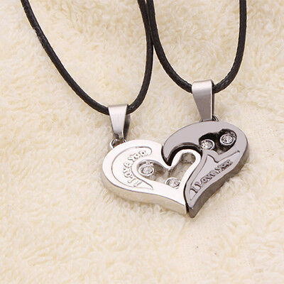 Vogue Men Women Lover Couple Necklace Love Heart Crystal Pendant Stainless Steel