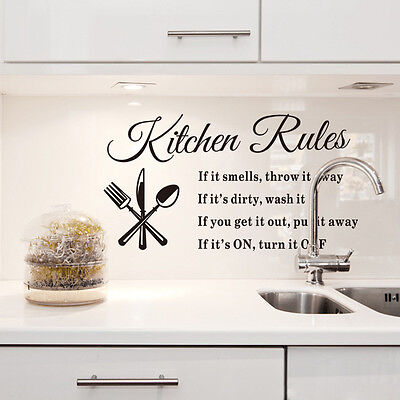 DIY Kitchen Rules Removable Wall Stickers Art Vinyl Quote Decal Mural Home Decor