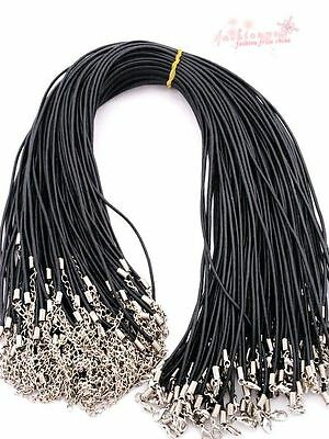"""2014 20 Pcs/lot 2MM 18"""" Lobster Clasp Real Oxhide Leather Cord Necklaces Hot"""