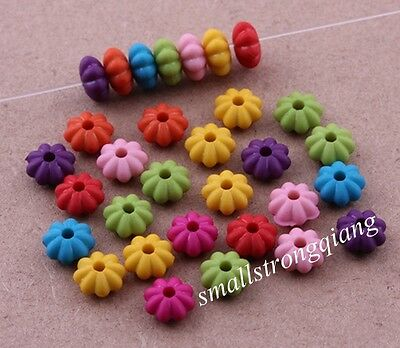 200 pcs mixed color acrylic flat flower spacer findings Loose beads charms 6x3mm
