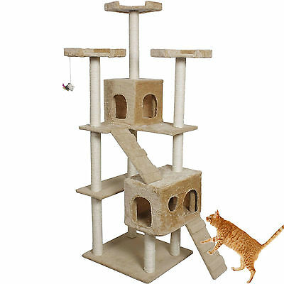 """New 73"""" Cat Kitty Tree Tower Condo Furniture Scratch Post Pet House Toy Beige"""