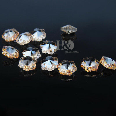 100 Champagne Sparkly Crystal Glass Snowflake beads Decor Chandelier Part 14mm
