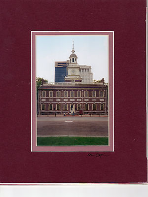 """INDEPENDENCE HALL  4"""" X 6"""" PHOTO DOUBLE MATTED IN AN 8"""" X 10"""" READY FOR FRAMING"""