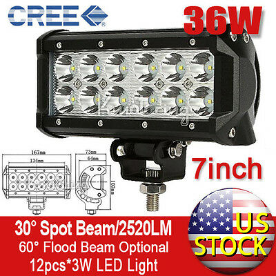 36W 7inch Cree Spot Beam LED Work Light Bar Jeep ATV Boat Offroad Lamp 54/60/72w