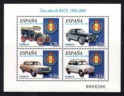 Spain 2003 Cars Sheetlet 4 MNH