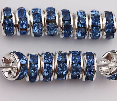 50Pcs Blue Silver Plated Loose Czech Crystal Rhinestone Spacer Beads 6mm