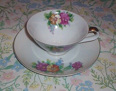 LARGE Floral TEA CUP and SAUCER - made in Japan - Colorful Flowers