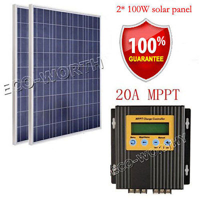 2x100W 18V poly solar panel system kit W/ 20A MPPT controller for RV Boat Cabin