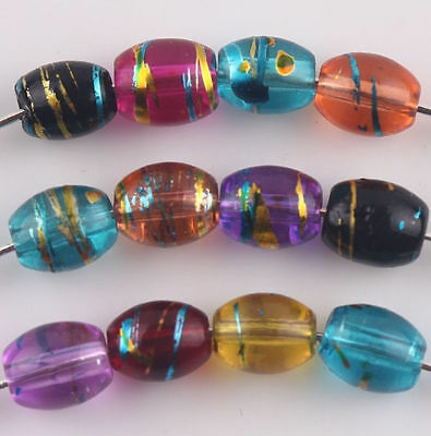 100Pcs Mixed Gold-plated Wire Olive Shape Crystal Glass Art Loose Bead 6x8mm
