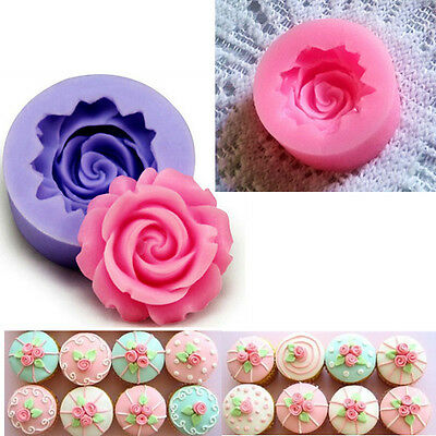 3D Rose Flower DIY Fondant Cake Chocolate Sugarcraft Mold Cutter Silicone Tools