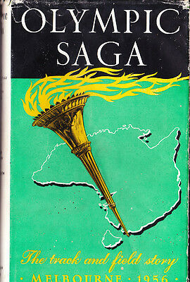 """1956 BOOK """"OLYMPIC SAGA"""" THE TRACK & FIELD STORY 248 PAGES w DUSTCOVER SIGNED BY"""