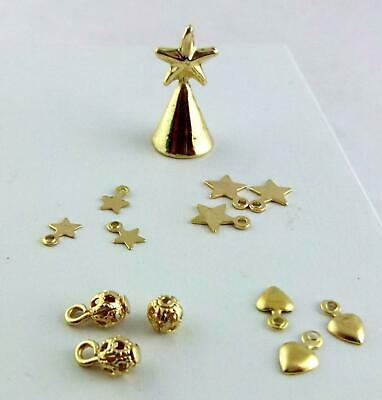 Dolls House Miniature Accessory Christmas Tree Decoration Ornament Set Gold