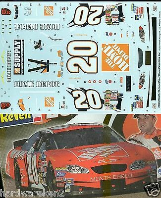 NASCAR DECAL #20 HOME DEPOT 2004 MONTE CARLO TONY STEWART - 1/24 Scale
