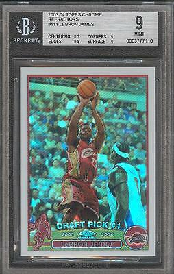 LeBron James Miami Heat 2003 Topps Chrome Refractor #111 Rookie Card rC BGS 9