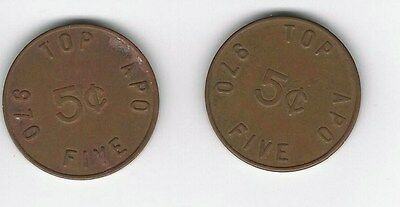 Lot of 2 US Military Tokens TOP FIVE APO 970 5¢ (Brass)