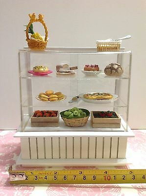 Dollhouse Miniature Furniture Bakery/Food/Cake Display White Cabinet Case 1:12