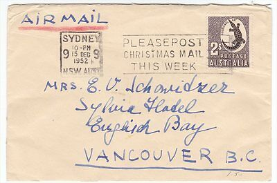 Australia to Canada Post Christmas Mail This Week Slogan PMK on 1952 Cover