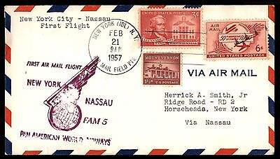 NEW YORK NY 1957 PAN AMERICAN FIRST FLIGHT FAM 5 AIR MAIL COVER TO NASSAU