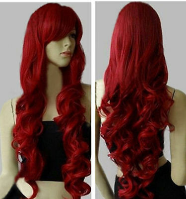 Fashion Womens Dark Red Long Curly Cosplay Party Wig 80cm/32inch