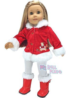 """Christmas Outfit Red Jacket +Leggings +Boots fit 18"""" American Girl Doll Clothes"""
