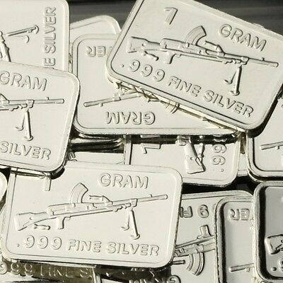 Lot of 20 X 1 Gram  .999 Fine Silver Bar / ZB-26 Gun CWP967