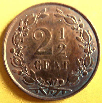 NETHERLANDS COIN - 2-1/2 CENT 1884 UNC