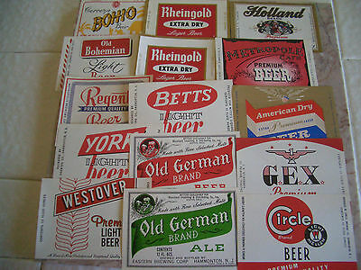 50  Different Vintage New Jersey Beer Labels Unused