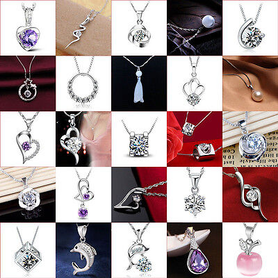 Necklace Pendant Fashion Women's 925 Sterling Silver Chain Crystal Rhinestone