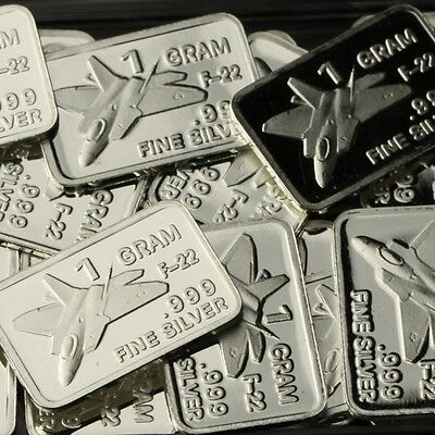 Lot of 20 X 1 Gram  .999 Fine Silver Bar / F-22 CWP966