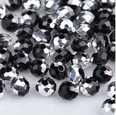 NEW Jewelry Faceted 100 pcs Silver Black #5040 3x4mm Roundelle Crystal Beads