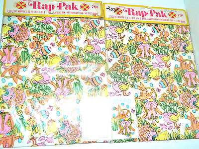 NIP 2 Vtg 1960s BUZZA NEON Easter Gift Wrapping Paper Lot Bunny Chicks Baskets