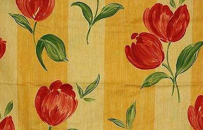 Parker Knoll Drapery Fabric.  Yellow Stripe with Bold Red Tulips