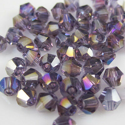Jewelry making 100pcs 4mm #5301 colorful Bicone glass crystal beads Violet AB 02