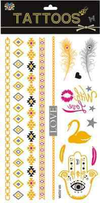 1pcs New Temporary Color Tattoo Gold Flash Tattoos Animal Inspired Jewelry C03