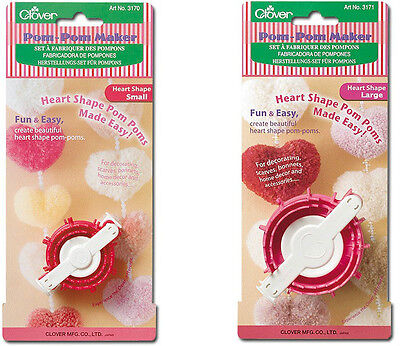 "2 Clover Heart  Shaped Pom Pom Makers(Small) 2"" (Large) 2 3/4"" 3170 & 3171"