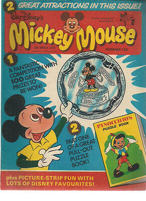 MICKEY MOUSE & DISNEY TIMES #126 U.K. comic March 18th 1978 Pinocchio