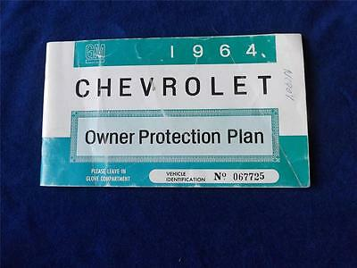 1964 CHEVROLET OWNER PROTECTION PLAN GLOVE COMPARTMENT BOOK WARRANTY MAINTENANCE