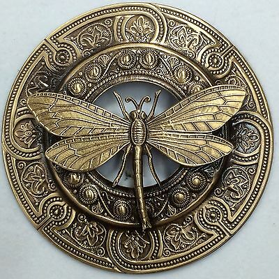 "EXTRA SUPER LARGE 3"" INCH Stamped Brass Vintage Style ""JUMBO DRAGONFLY"" Button"