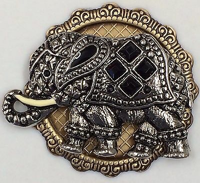 """Silver Overlay On Stamped Brass~ """"JEWELED ELEPHANT""""~PICTURE BUTTON ~2 1/4"""""""