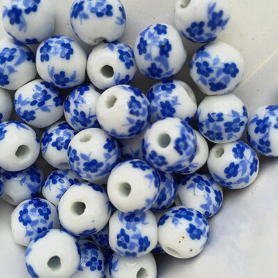 15pcs deep Blue Plum Blossom Round Porcelain Beads Findings 10mm Loose Spacer .