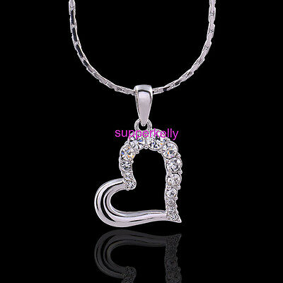 Unique 18K White Gold Plated Austrian Crystal Heart Love Pendant Lady Necklace