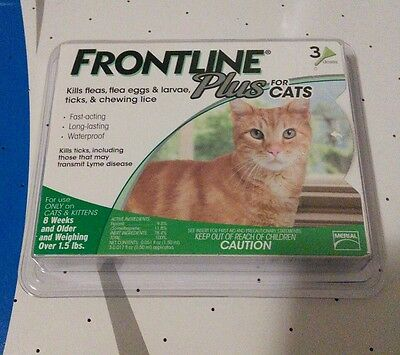 BRAND NEW SEALED FRONTLINE PLUS FOR CATS 8 WEEKS AND OLDER! 3 MONTH SUPPLY!!