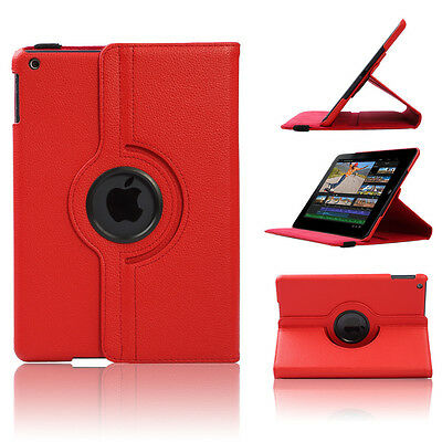Leather 360 Degree Rotating Case Cover Stand For Apple iPad 5 / Air 2013 Red US