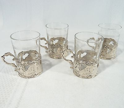 4 Antique Euopean Solid 800 SILVER Shot glasses Hanau Germany circa 1890