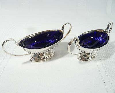 2 Antique 1887  STERLING Silver OPEN SALTS or CELLARS London JA & TS