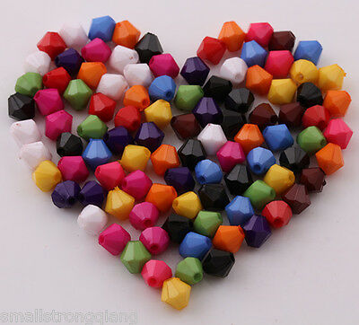 200 pcs 6mm mixed color artful rhombic acrylic beads spacer findings charms