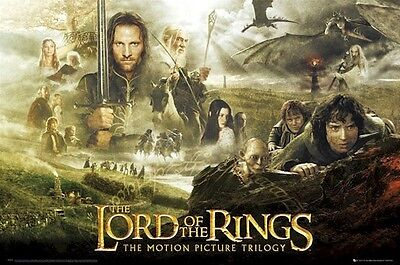 LORD OF RINGS MOVIE POSTER ~ TRILOGY CAST 24x36 Fellowship Return King Hobbit